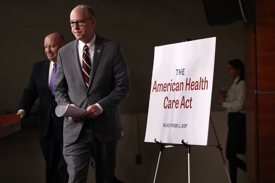 Republican congressmen Greg Walden (right) and Kevin Brady arrive for a news conference on Tuesday in Washington on the newly announced House plan to replace the Affordable Care Act.