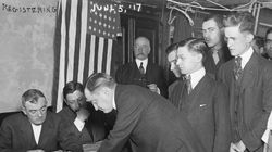 Young men registering for military conscription, New York City, June 5, 1917.