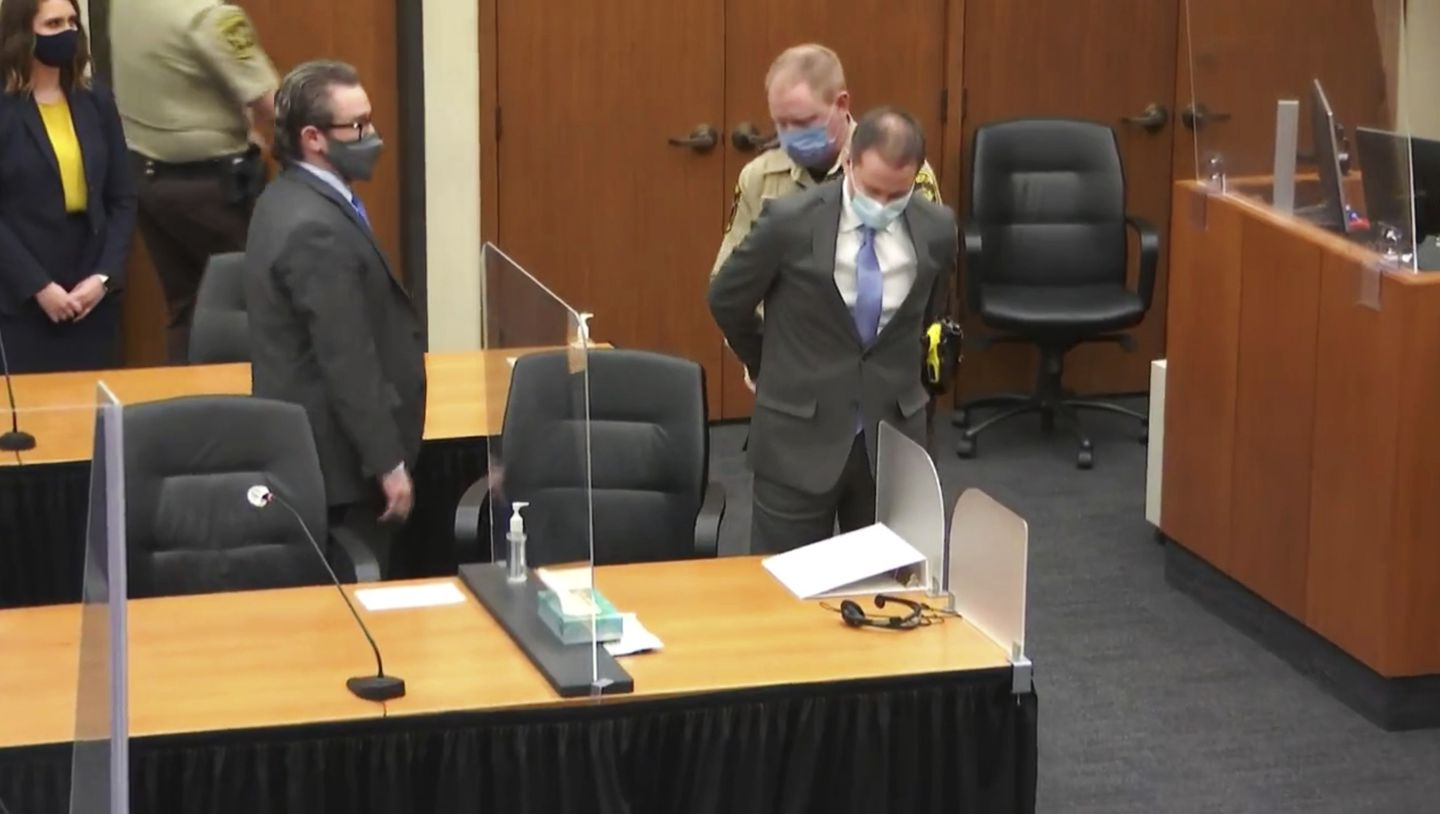In this image from video, former Minneapolis police Officer Derek Chauvin is taken into custody as his attorney, Eric Nelson, left, looks on, after the verdicts were read at Chauvin's trial for the 2020 death of George Floyd, Tuesday, April 20, 2021, at the Hennepin County Courthouse in Minneapolis, Minn.