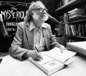 Isaac Asimov autographed books in New York City in 1984.