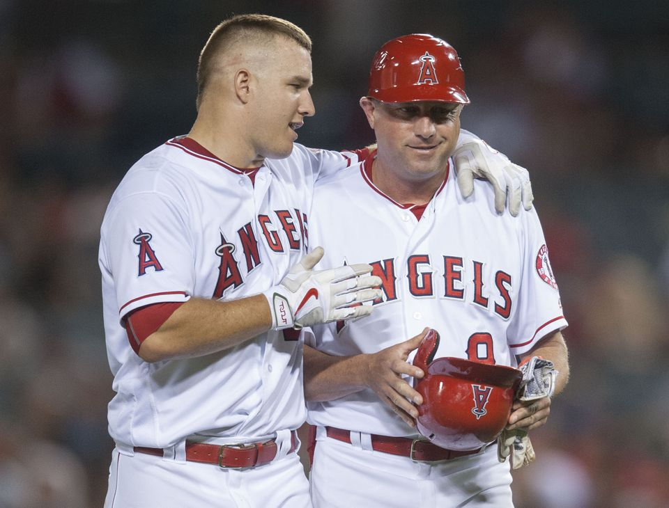 Gary DiSarcina (right) was the Angels' first base coach last season.