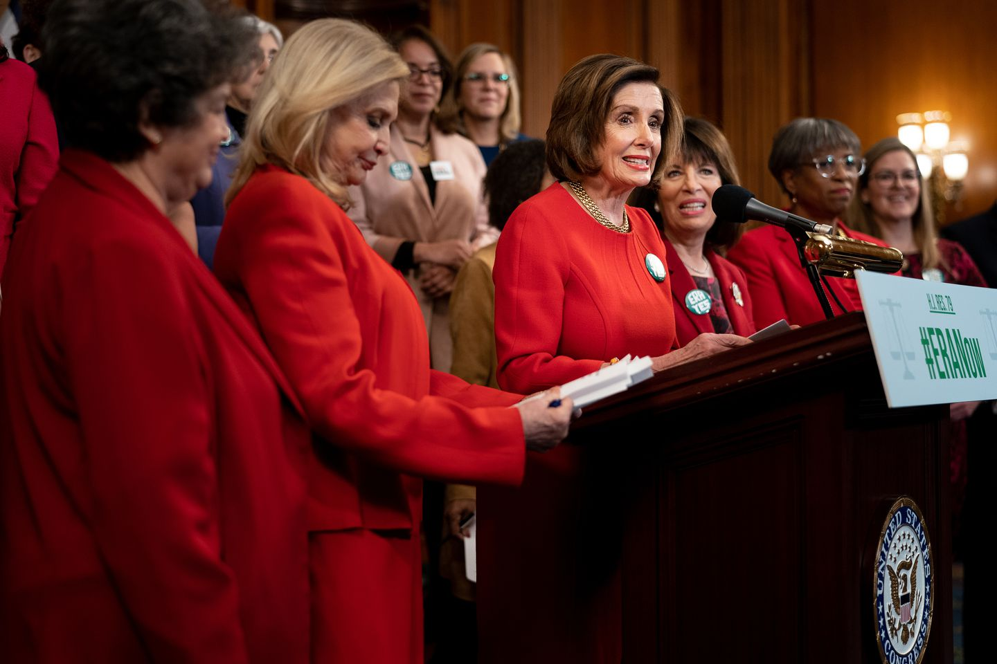 House Speaker Nancy Pelosi and other members of Congress spoke to the media after the House's vote on Thursday.
