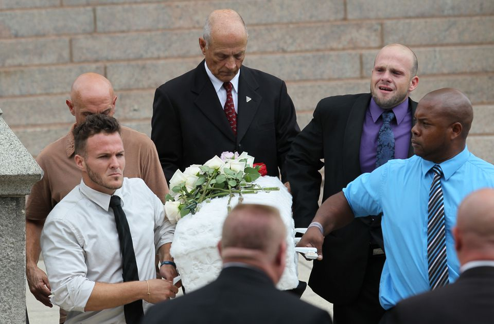 Pallbearers of Avalena Conway-Coxon included her father, Ronald Green Jr. (top right).