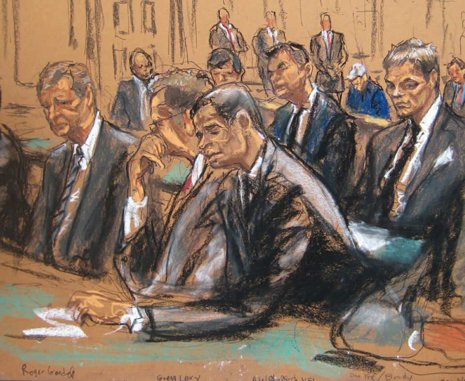 Another sketch depicted Brady (right) and NFL Commissioner Roger Goodell (left) at the hearing.