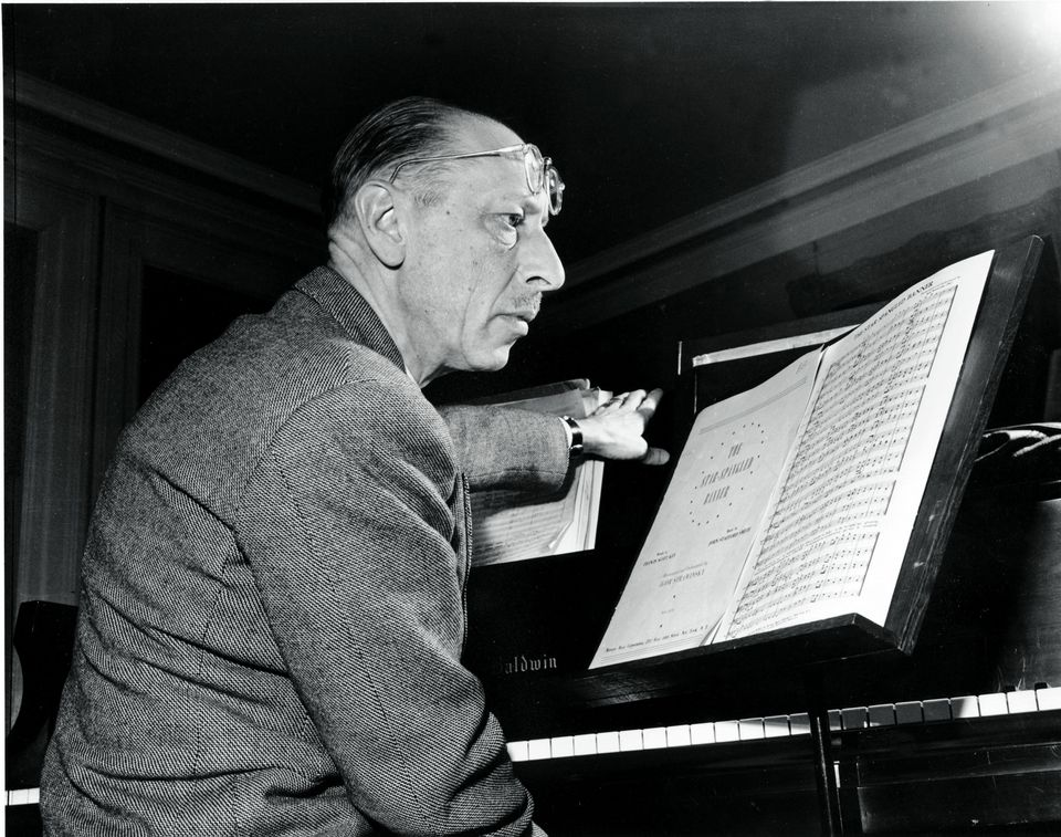 Russian composer Igor Stravinsky prepared to conduct his own arrangement of the Star Spangled Banner in Boston on Jan. 12, 1944.
