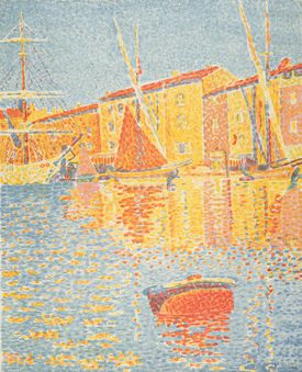 """Paul Signac's """"Saint-Tropez, the Red Buoy,"""" at the Peabody Essex Museum exhibit """"Impressionists on the Water."""""""