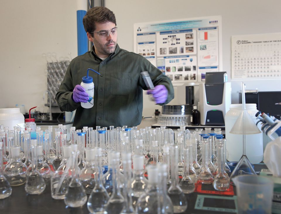 Zachary Helm works as a researcher at Oasys Water, which cleans water through technology called 'forward osmosis' that uses hair-thin membranes and other processes to filter contaminants.