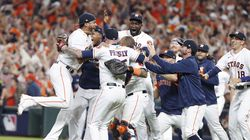 The Astros celebrated after defeating the Red Sox in Game 6 of the ALCS.