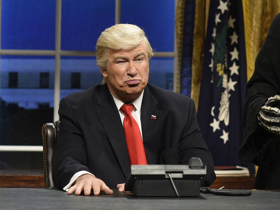 "Alec Baldwin, pictured in a Feb. 2017 opening sketch of ""Saturday Night Live,"" returns to the late-night show Saturday to mock the president's national emergency."