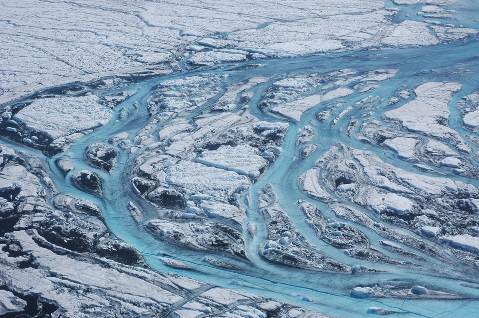 Large rivers form on the surface of the ice sheet in summer, rapidly moving meltwater from the ice sheet to the ocean.