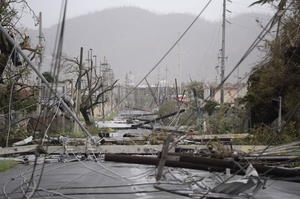 Electricity poles and lines lay toppled on the road in Humacao, Puerto Rico.