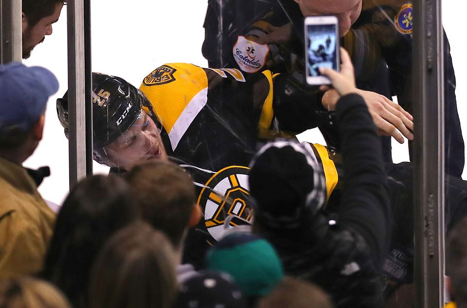 Brandon Carlo exited Saturday's game in the third period.