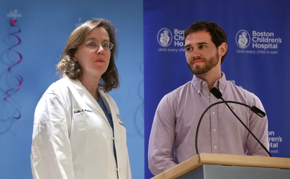 Corey Peak (right) was the first patient to undergo a new type of ACL repair developed by Dr. Martha Murray.