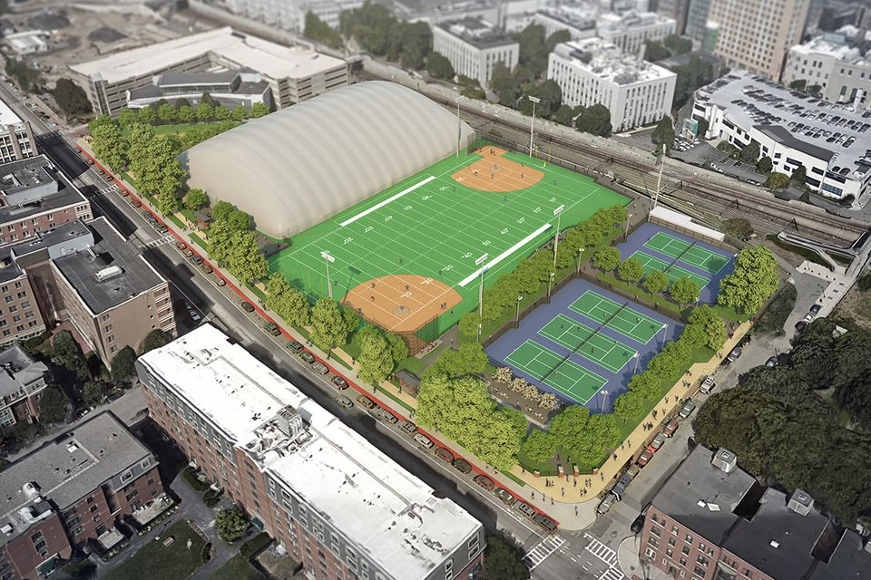 A deal that Northeastern struck with Boston calls for the school  to fix up a public park, building a football-baseball field plus a second field that can be enclosed with a bubble during winter.