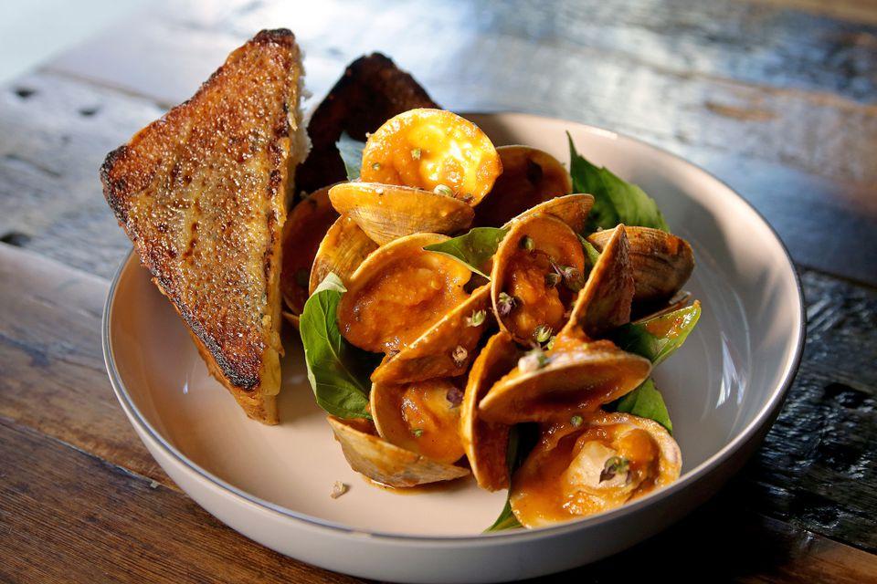 Chili jam clams with milk toast at Tiffani Faison's Tiger Mama.