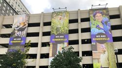 """Assembly Row and the Somerville Arts Council has unveiled a new art installation titled """"We are Somerville"""" depicting Somerville residents and workers."""