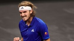 Stefanos Tsitsipas of Team Europe celebrates match point against Nick Kyrgios of Team World on Day 2 of the Laver Cup at TD Garden.