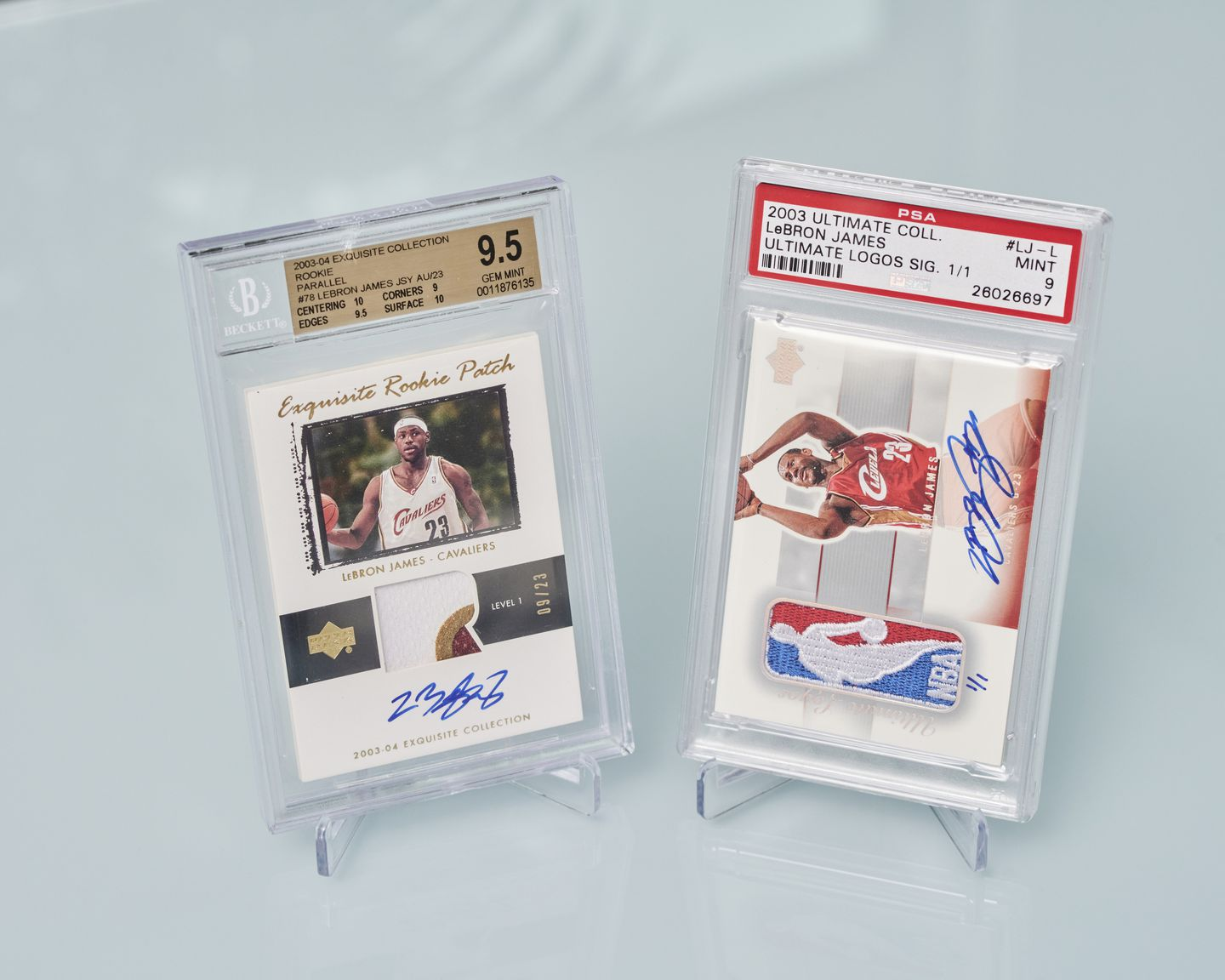 In April, a 2003 LeBron James Exquisite Collection patch card sold for $5.2 million. Together, these two James cards, owned by California collector Aaron Davis, are worth more than $7 million.