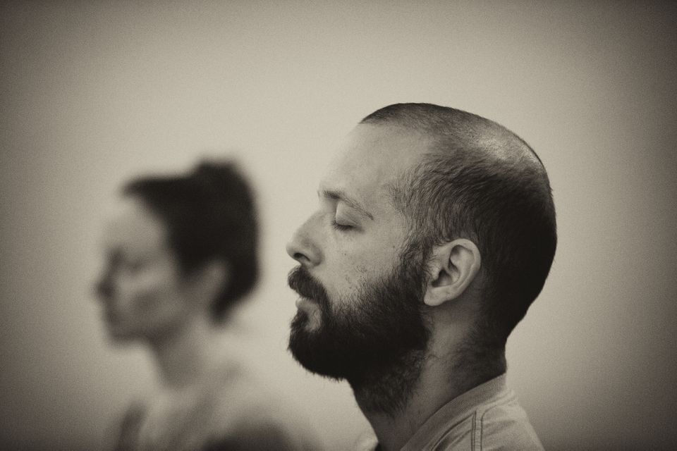 Leo March and Liz Donohue meditated in a class called Mindful Self Compassion, led by Brenda Rogers at the Arlington Center in Arlington in 2015.