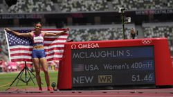 Sydney McLaughlin won the 400-meter hurdles in a record 51.46 seconds.
