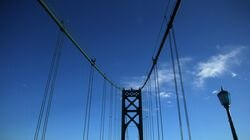 The Mount Hope Bridge, opened in 1929, connects the Rhode Island towns of Bristol and Portsmouth, Rhode Island.