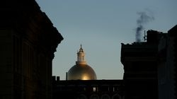 The golden dome of the Massachusetts State House.