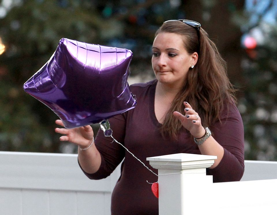 Avalena's mother, Jessica Conway, at a vigil for the little girl in Marlborough earlier this month.