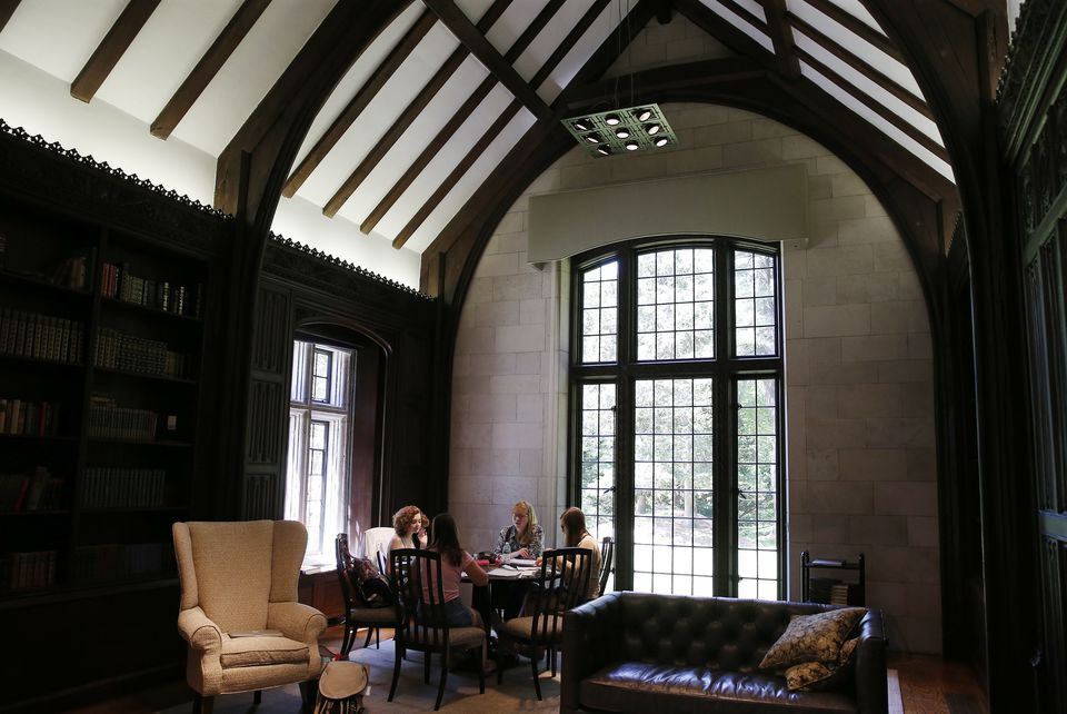 Students studied for finals inside the library at The Academy at Penguin Hall.