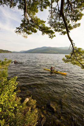Rent kayaks and explore the lake.