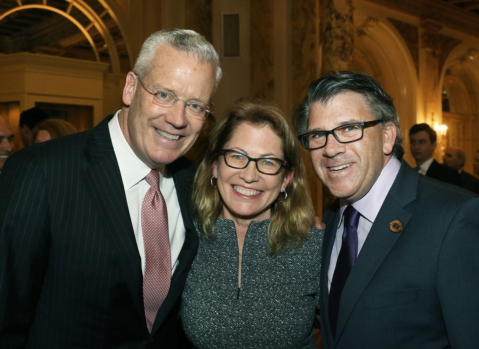 Thomas N. O'Brien (left), his wife, Patricia, and Robert O. Trestan, regional director of the ADL.