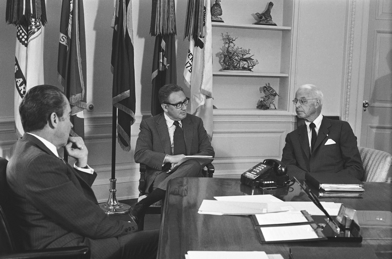 President Richaed Nixon met with Ellsworth Bunker, the US ambassador to South Vietnam, and Henry Kissinger in June 1971.
