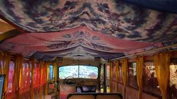 Inside a converted school bus in the Woodstock Museum at Bethel Woods Center for the Arts.