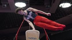 Stephen Nedoroscik of the United States competes in the pommel horse final at the world championships in Kitakyushu, Japan.