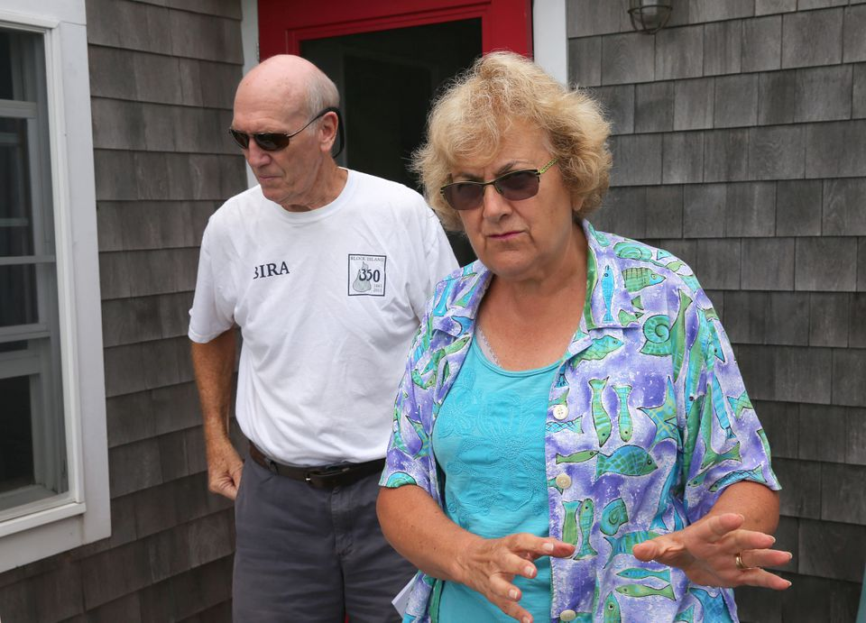 Block Island residents Jonathan and Rosemarie Ives are upset with their view of the wind farm.