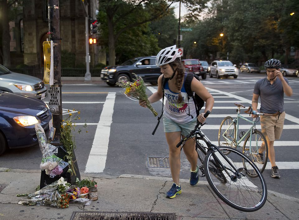 """This could have been me,"" said Jami King, who biked to the site of the accident Saturday evening to place flowers at a memorial."
