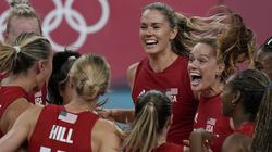 United states players celebrate winning the women's volleyball preliminary round pool B match between the United States and Italy at the 2020 Summer Olympics, Monday, Aug. 2, 2021, in Tokyo, Japan.