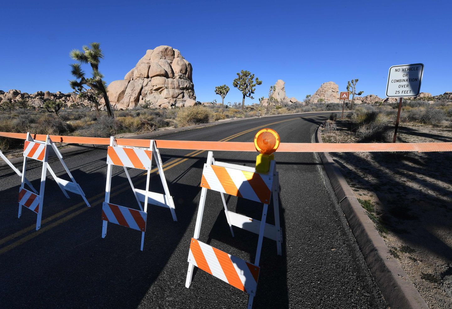 A barrier blocked a campground at the Joshua Tree National Park.