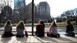 A warm day in February 2017 at the Lagoon in Boston's Public Garden. Forecasters say it's possible this coming winter will be warmer than average.
