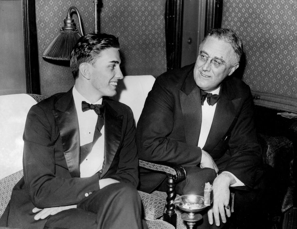 Franklin Roosevelt Jr. with FDR in 1935.