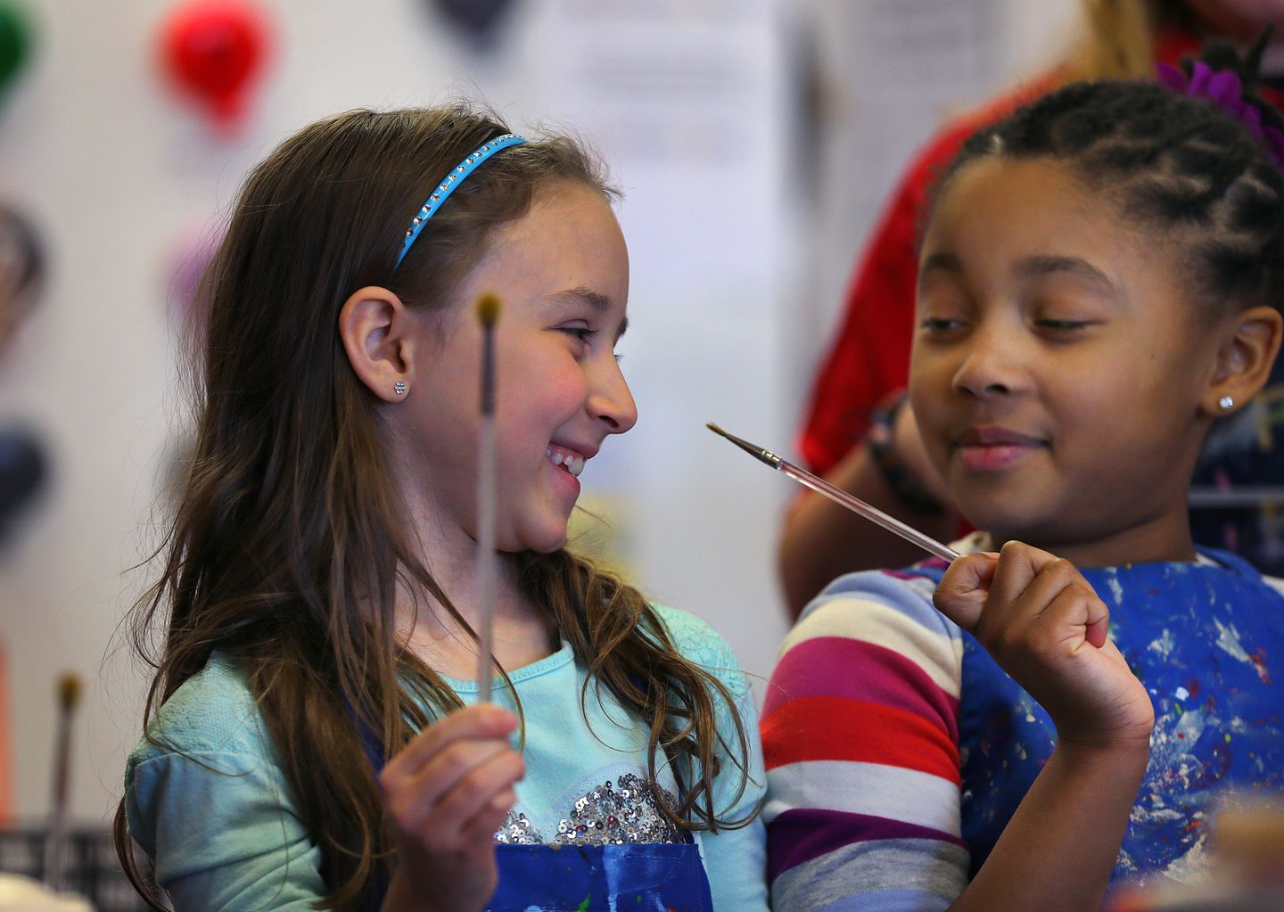 Caitlyn Rose Kasper (left) celebrated her eighth birthday at a party with her friends at Plaster Fun Time.