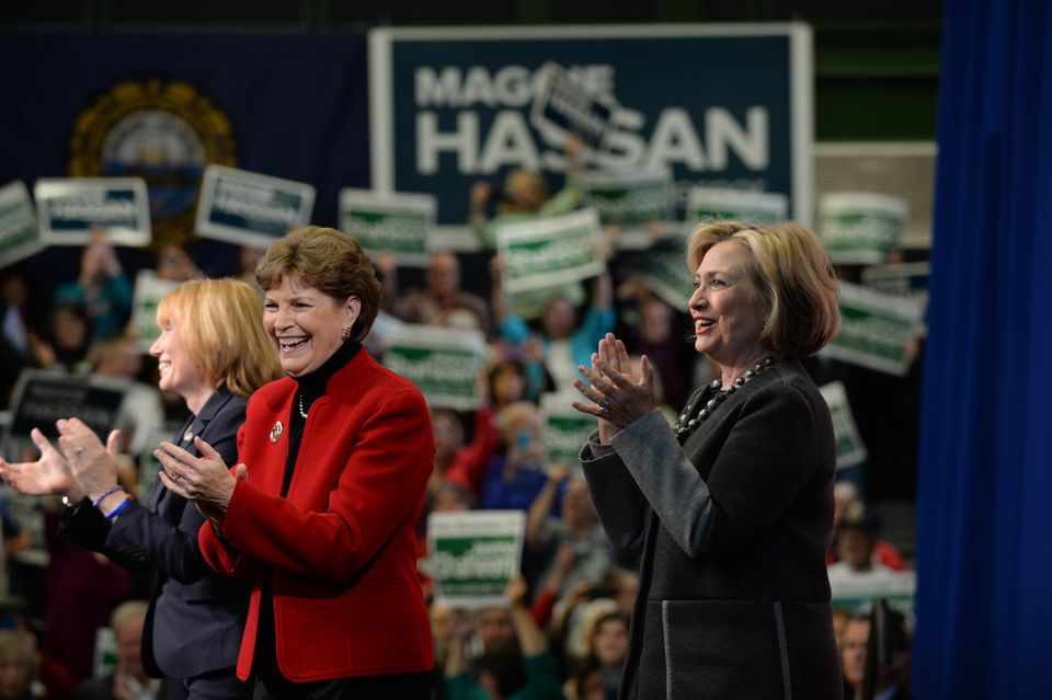 Hillary Clinton, right, appeared with Senator Jeanne Shaheen, center, and Governor Maggie Hassan in Nashua.