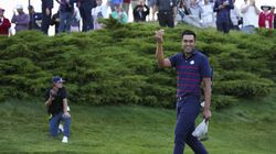 """Tony Finau a winner with Harris English in four-ball, said, """"If [Tiger Woods is ] watching, thanks for that text, brother, I think it helps us a lot."""""""