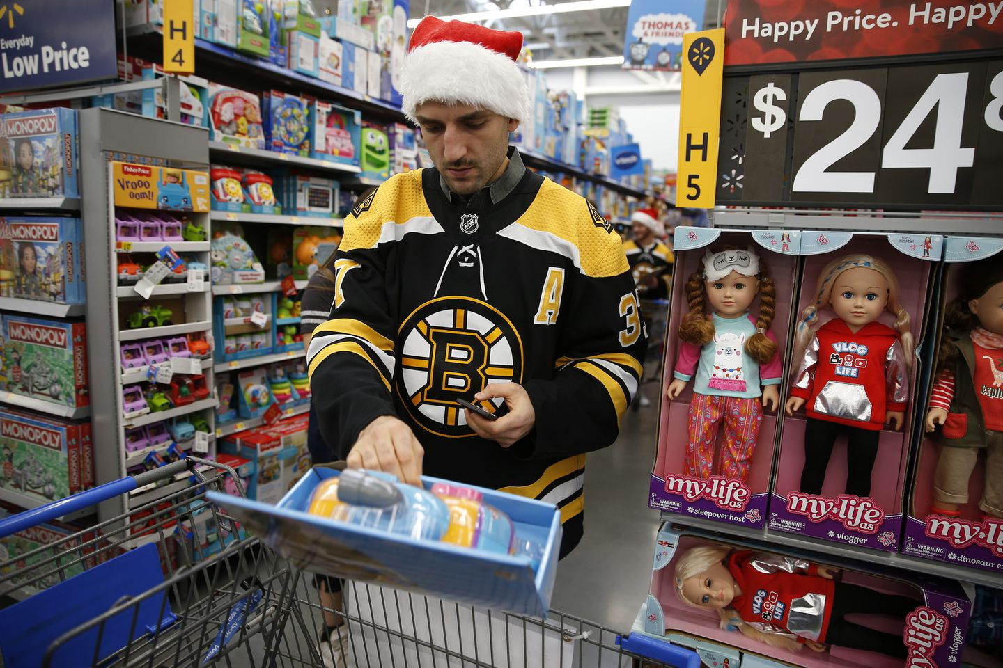 Image result for bruins holiday toy shopping