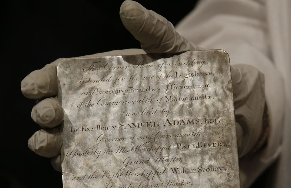 Pam Hatchfield, a conservator at the Museum of Fine Arts, held a silver plaque that was inside the time capsule.