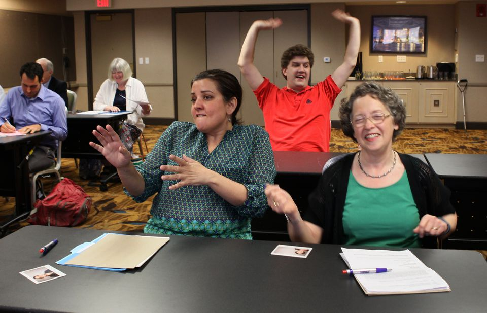 From left,  Amy Ramsay of Medford, Paul Flynn of Providence, and Carol Oppenheim of Owings Mills, Md., during the auditions.