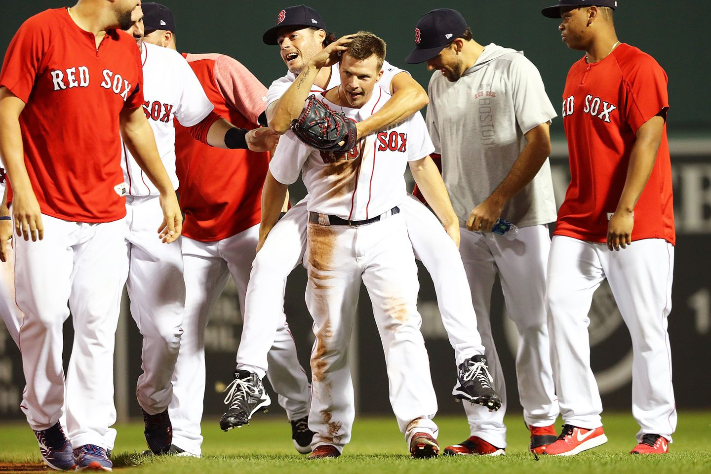Tony Renda gave a piggy back ride to Joe Kelly after a victory over the Yankees.