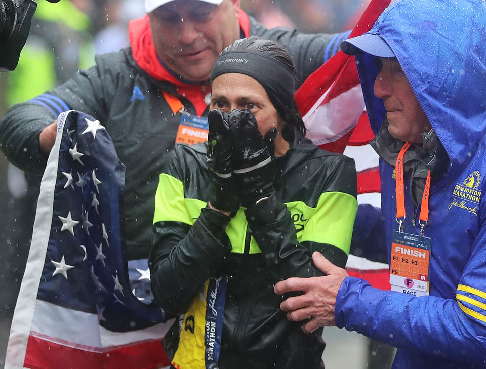 An emotional moment at the finish line.