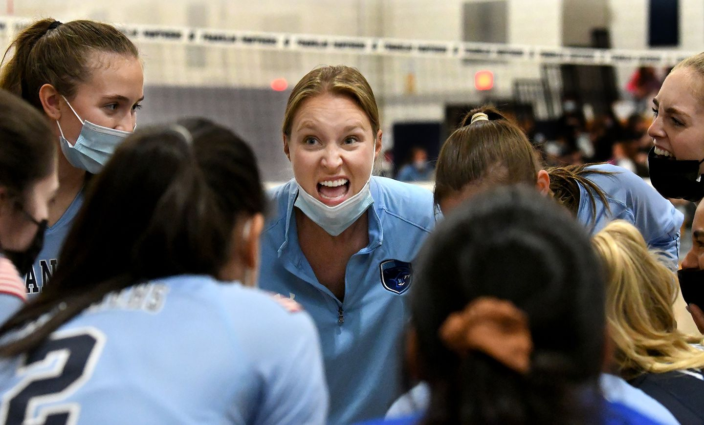 Franklin coach Samantha Redmond fires up her team during a win over Stoughton. MARK STOCKWELL FOR THE BOSTON GLOBE