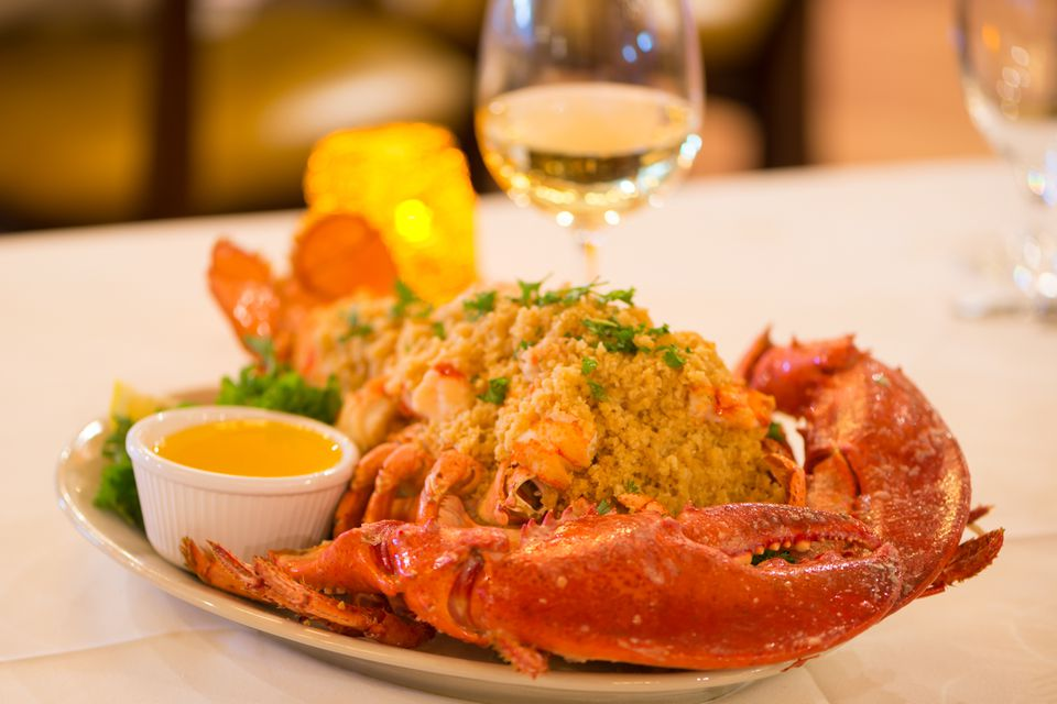 Baked stuffed lobster at the Empire Grille at Venus De Milo in Swansea.
