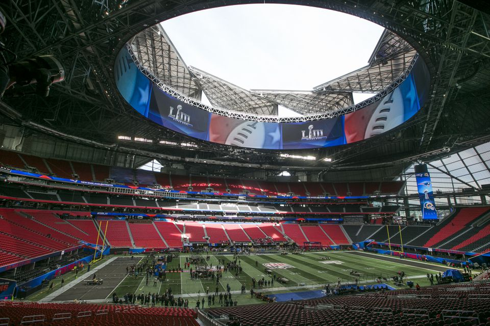 The roof at Mercedes-Benz Stadium was open as Super Bowl preparations were made Friday.